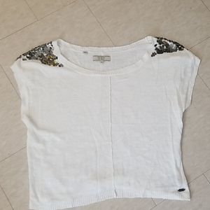 Guess Crop Top with Bedazzled Shoulders